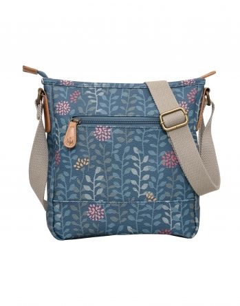 Trailing Leaf Textured cross body bag. Teal